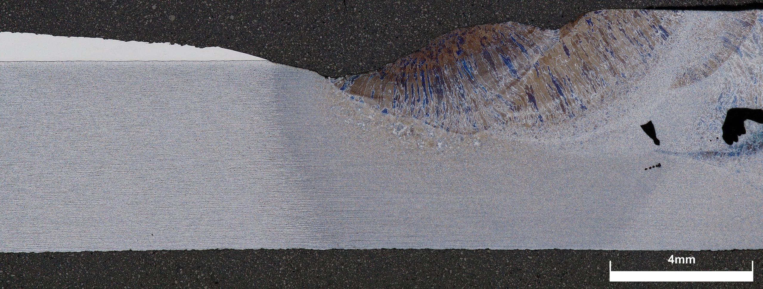 Digital microscopy, etched weld